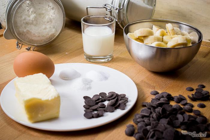 Ingredientes para la elaboración del pan de plátano (banana bread)