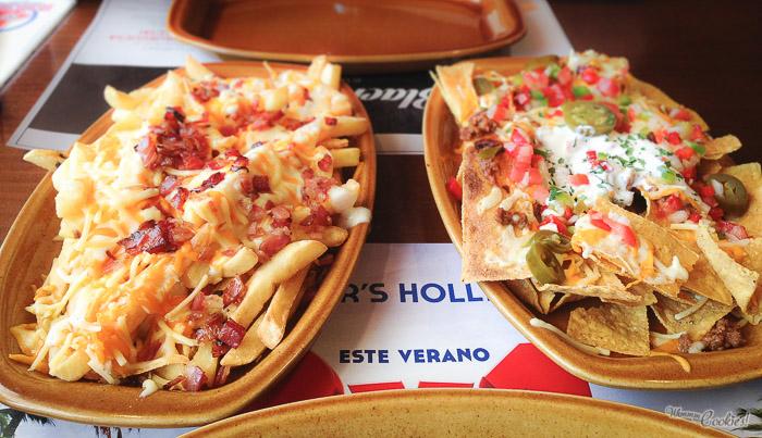 «Bacon Cheese Fries» y «Nachos San Fernando en su máximo esplendor.» tan doraditos, tan sexys...