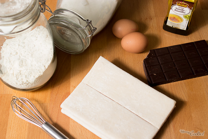 Milhoja de chocolate y crema pastelera